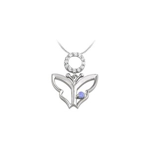 Marco B Butterfly Pendant Necklace with Cubic Zirconia and Created Tanzanite