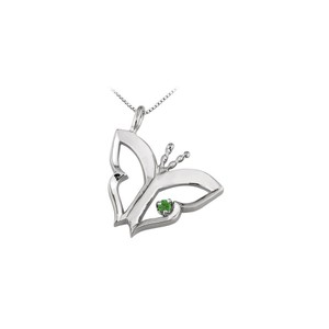 Marco B Butterfly Pendant Necklace with Emerald in 14kt White Gold 0.15 CT TGW