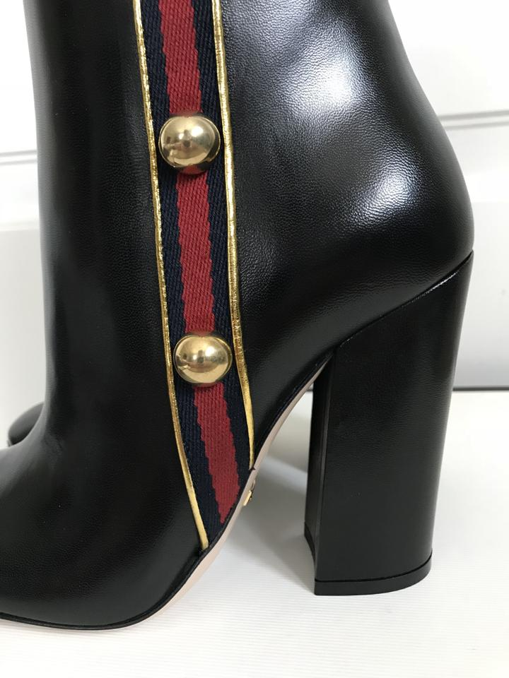 9804bbe86 Gucci Black Carly Leather Logo Stud Web Ankle Boots/Booties Size EU ...