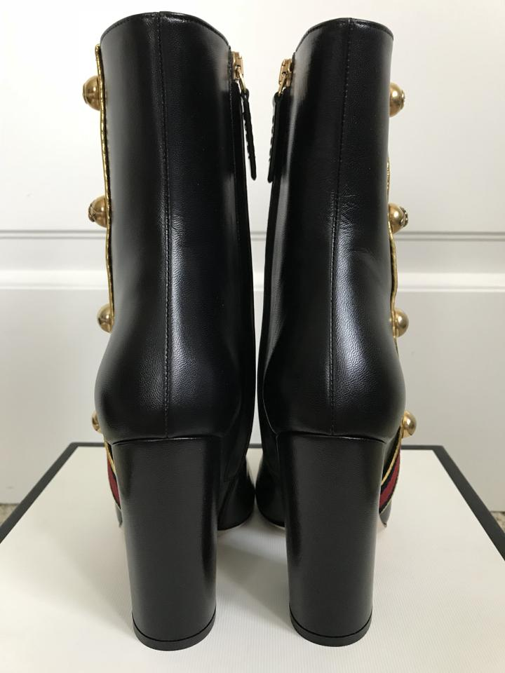 508222ee2 Gucci Black Carly Leather Logo Stud Web Ankle Boots/Booties Size EU 37  (Approx. US 7) Regular (M, B) - Tradesy