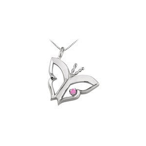 Marco B Butterfly Pendant Necklace with Pink Sapphire in 14kt White Gold 0.15