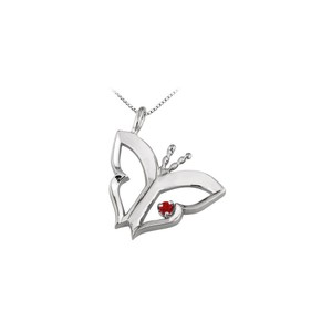 Marco B Butterfly Pendant Necklace with Ruby in 14kt White Gold 0.15 CT TGW