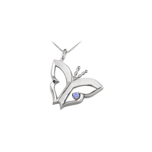 Marco B Butterfly Pendant Necklace with Tanzanite in 14kt White Gold 0.15 CT T
