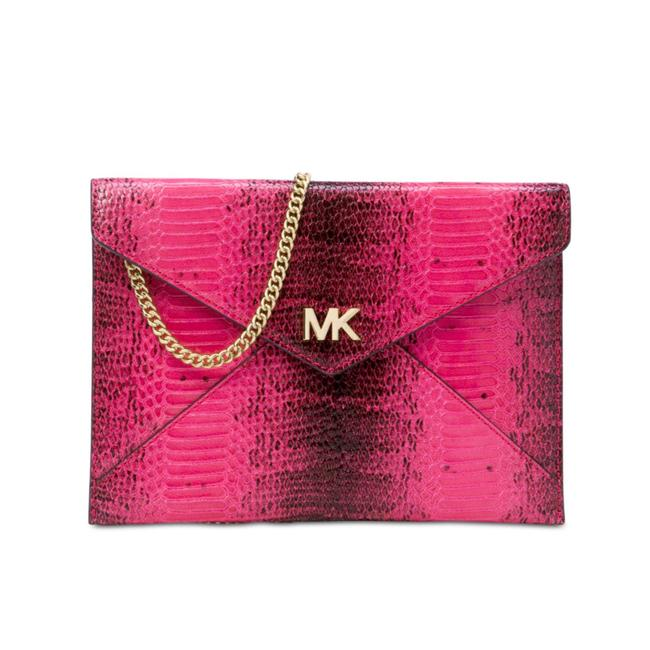 MICHAEL Michael Kors Barbara Med Soft Envelope Ultra Pink Embossed Leather Clutch MICHAEL Michael Kors Barbara Med Soft Envelope Ultra Pink Embossed Leather Clutch Image 1