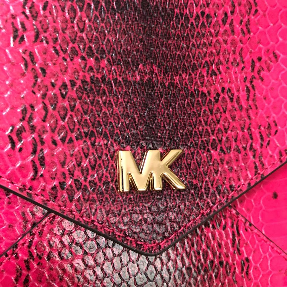c8f5c32c97bd MICHAEL Michael Kors Barbara Med Soft Envelope Ultra Pink Embossed Leather  Clutch - Tradesy