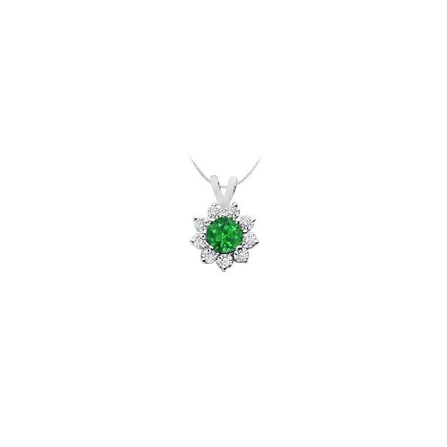 Green White Gold Created Emerald and Cubic Zirconia Pendant 14k 0.75 Ct Tgw Necklace Green White Gold Created Emerald and Cubic Zirconia Pendant 14k 0.75 Ct Tgw Necklace Image 1