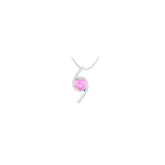 Pink White Gold Created Sapphire Pendant In 14k 2.00 Carat Tgw Necklace Pink White Gold Created Sapphire Pendant In 14k 2.00 Carat Tgw Necklace Image 1