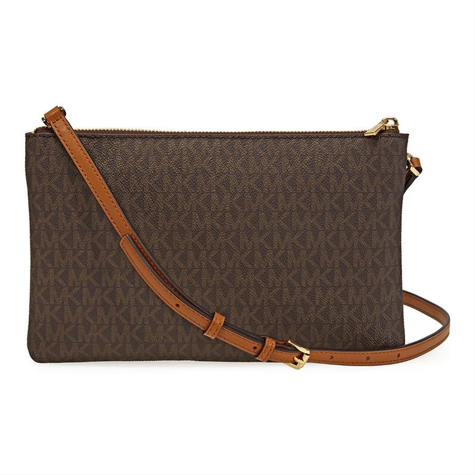 1dd4c0b18927 Michael Kors Adele Double Gusset Signature Brown Coated Canvas Cross ...