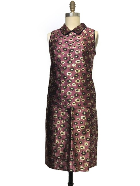 J.Crew COLLECTION METALLIC jacquard MARIGOLD print Pencil Skirt nd Top Suit
