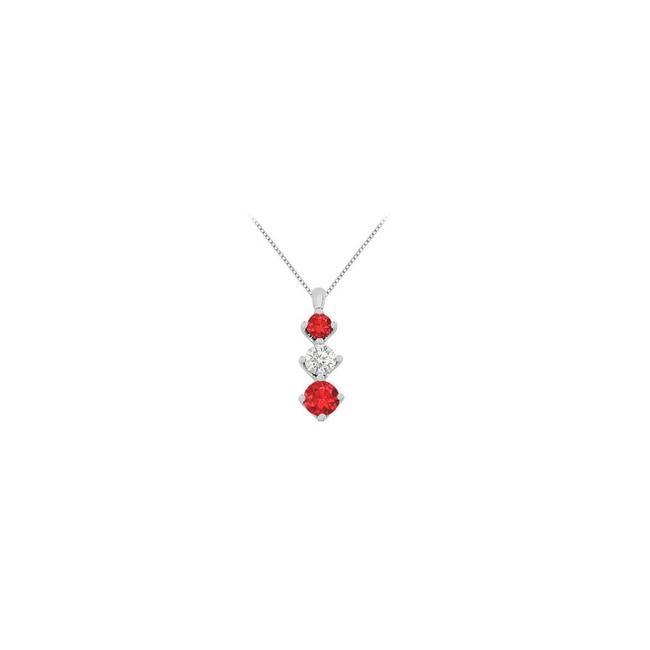 Red White Gold Created Ruby Stone and Cz Graduated 14k T Necklace Red White Gold Created Ruby Stone and Cz Graduated 14k T Necklace Image 1