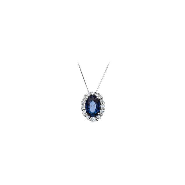 Blue White Gold Created Sapphire and Cz Halo Pendant In 14kt 1.25.ct.tgw Necklace Blue White Gold Created Sapphire and Cz Halo Pendant In 14kt 1.25.ct.tgw Necklace Image 1