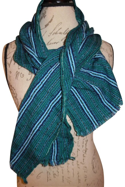 Unbranded Teal Blue White Striped Woven Boho Raw Ends Hippie Scarf/Wrap Unbranded Teal Blue White Striped Woven Boho Raw Ends Hippie Scarf/Wrap Image 1