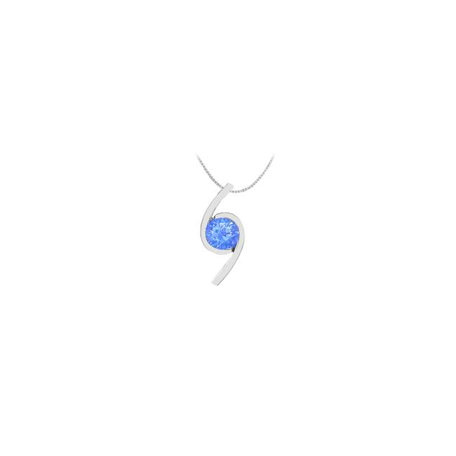 Blue White Gold Created Sapphire Brilliant Cut Pendant In 14k 2.00 Carat Tg Necklace Blue White Gold Created Sapphire Brilliant Cut Pendant In 14k 2.00 Carat Tg Necklace Image 1