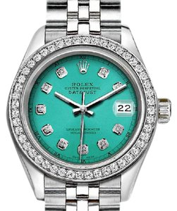 Rolex Ladies 26mm Datejust - Custom Bezel and Diamond Turquoise Dial