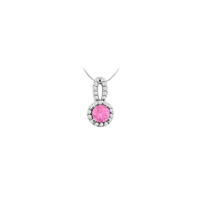 Pink White Gold Cubic Zirconia and Created Sapphire Pendant In 14k 1 C Necklace Pink White Gold Cubic Zirconia and Created Sapphire Pendant In 14k 1 C Necklace Image 1