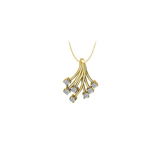 White Yellow Gold Cubic Zirconia Fashion Shower Pendant In 14k 0.35 Ct Tgw W Necklace White Yellow Gold Cubic Zirconia Fashion Shower Pendant In 14k 0.35 Ct Tgw W Necklace Image 1