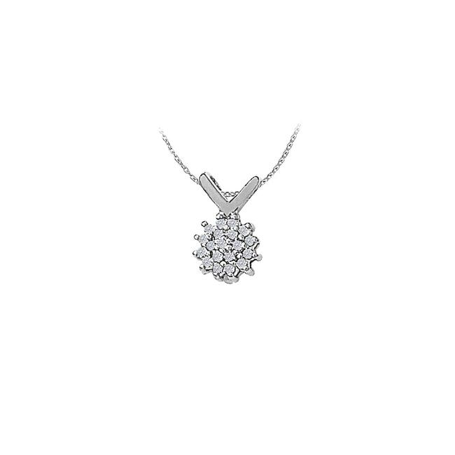 White Cubic Zirconia Flower Pendant In 14k Gold with A Free 16 Inch Ch Necklace White Cubic Zirconia Flower Pendant In 14k Gold with A Free 16 Inch Ch Necklace Image 1