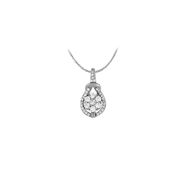 White Cubic Zirconia Knot Pattern Pendant In 14k Gold 0.50 Ct Tgwperfe Necklace White Cubic Zirconia Knot Pattern Pendant In 14k Gold 0.50 Ct Tgwperfe Necklace Image 1