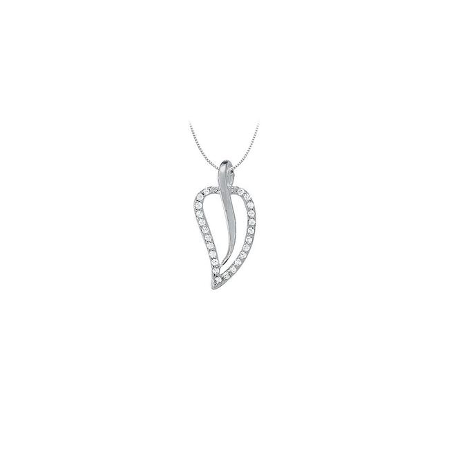 White Cubic Zirconia Leaf Pendant In 14k Gold 0.25 Ct Tgwperfect Jewel Necklace White Cubic Zirconia Leaf Pendant In 14k Gold 0.25 Ct Tgwperfect Jewel Necklace Image 1