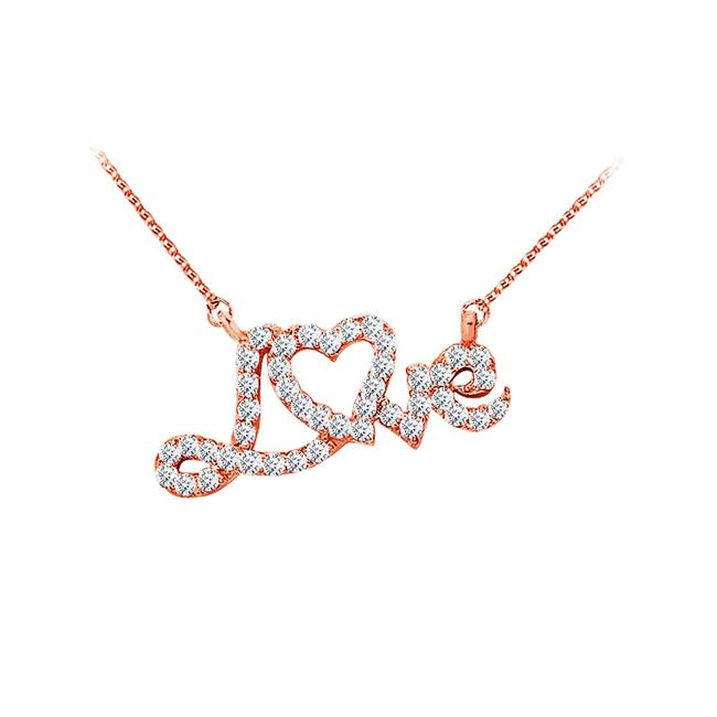 White Rose Gold Cubic Zirconia Love Heart Pendant In 14k Necklace White Rose Gold Cubic Zirconia Love Heart Pendant In 14k Necklace Image 1