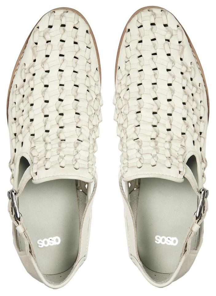 ab3d3c851 ASOS Off White Afterworld Leather Ankle Strap Fisherman Sandals Uk5 Flats