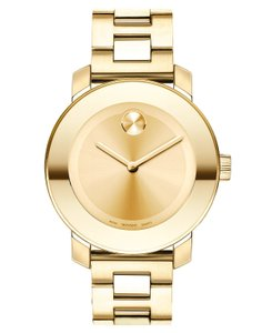 Movado Plated Stainless Bracelet Gold Dial Bold 3600085 Midsize Watch