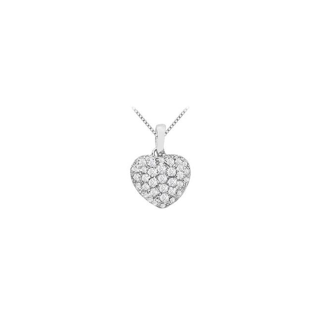 White Cubic Zirconia Puffed Heart Pendant with Half Carat Czs Gold Necklace White Cubic Zirconia Puffed Heart Pendant with Half Carat Czs Gold Necklace Image 1