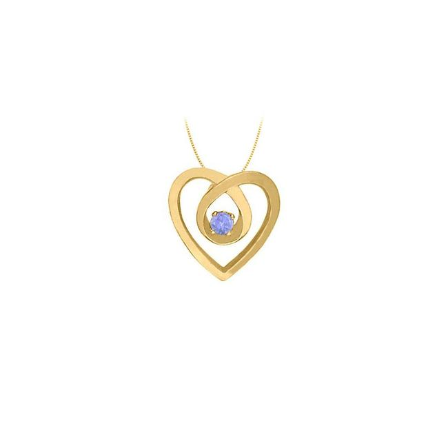 Blue Yellow Gold December Birthstone Tanzanite Heart Pendant 14kt Necklace Blue Yellow Gold December Birthstone Tanzanite Heart Pendant 14kt Necklace Image 1