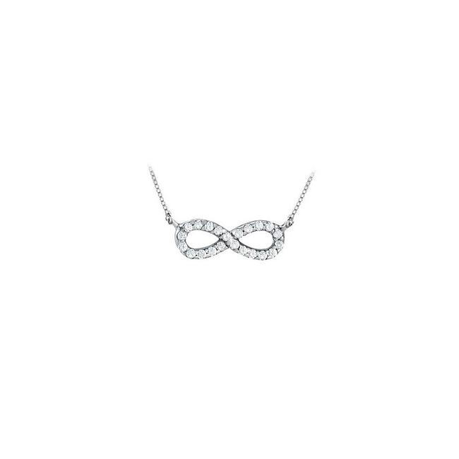 White Designer Inspired Infinity Pendant with April Birthstone Diamond In 14 Necklace White Designer Inspired Infinity Pendant with April Birthstone Diamond In 14 Necklace Image 1