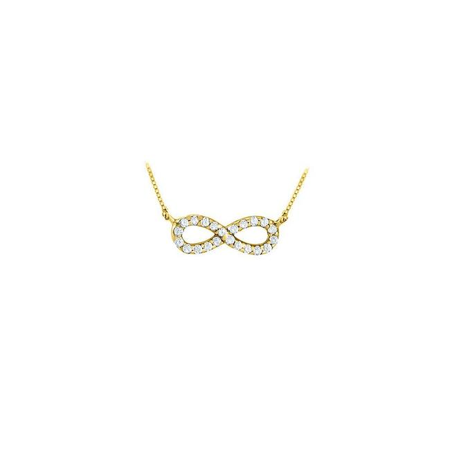 Yellow Yellow Gold Designer Inspired Infinity Pendant with April Birthstone Diamond In 14 Necklace Yellow Yellow Gold Designer Inspired Infinity Pendant with April Birthstone Diamond In 14 Necklace Image 1