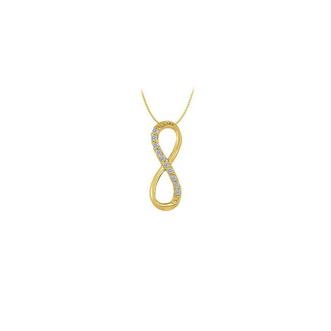Yellow Yellow Gold Designer Inspired Vertical Infinity Pendant with Diamond In 14k Necklace Yellow Yellow Gold Designer Inspired Vertical Infinity Pendant with Diamond In 14k Necklace Image 1