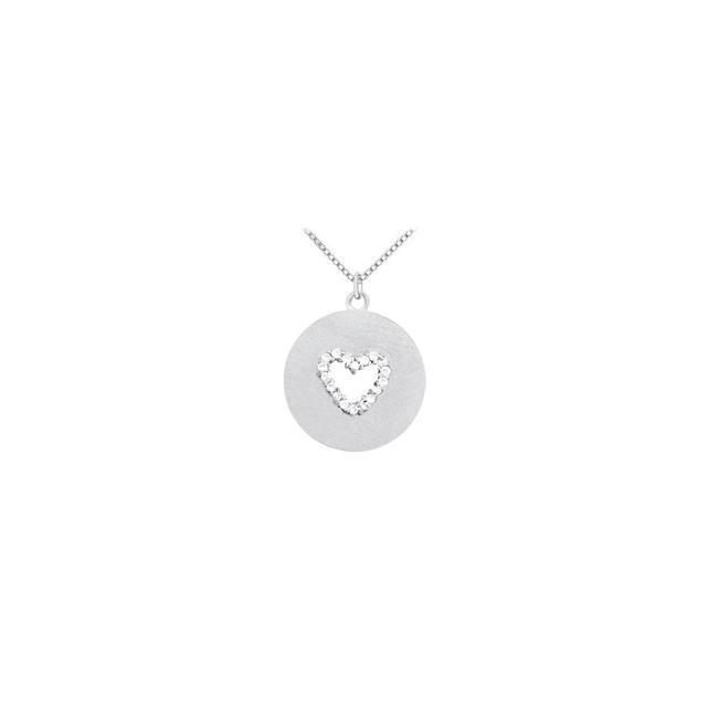 White Diamond Heart Disc Pendant In 14k Gold 0.10 Ct Tdw with Go Necklace White Diamond Heart Disc Pendant In 14k Gold 0.10 Ct Tdw with Go Necklace Image 1