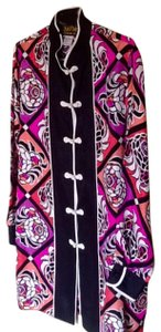 Bob Mackie Toggle Closure Silk Mandarin Neck Top Floral Orange, Pink,Lilac and black print