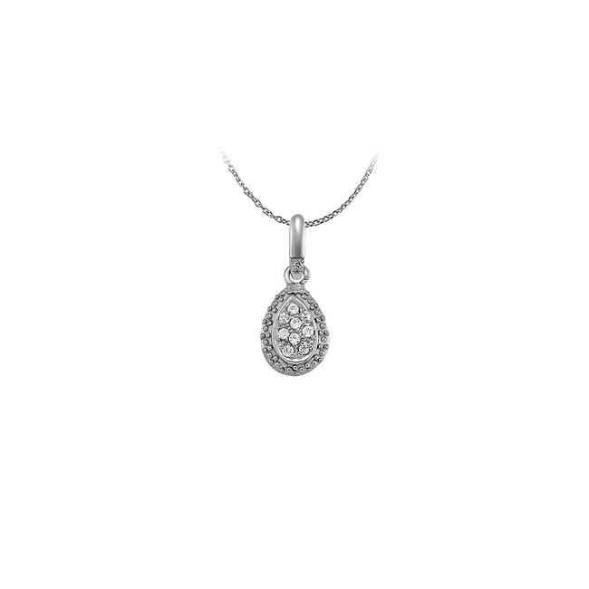 White Diamonds Oval Pendant In 14k Gold 0.10 Ct Tdw Necklace White Diamonds Oval Pendant In 14k Gold 0.10 Ct Tdw Necklace Image 1