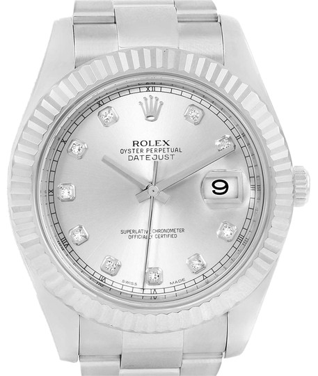Preload https://img-static.tradesy.com/item/23391536/rolex-silver-datejust-ii-steel-white-gold-diamond-dial-116334-box-card-watch-0-1-540-540.jpg