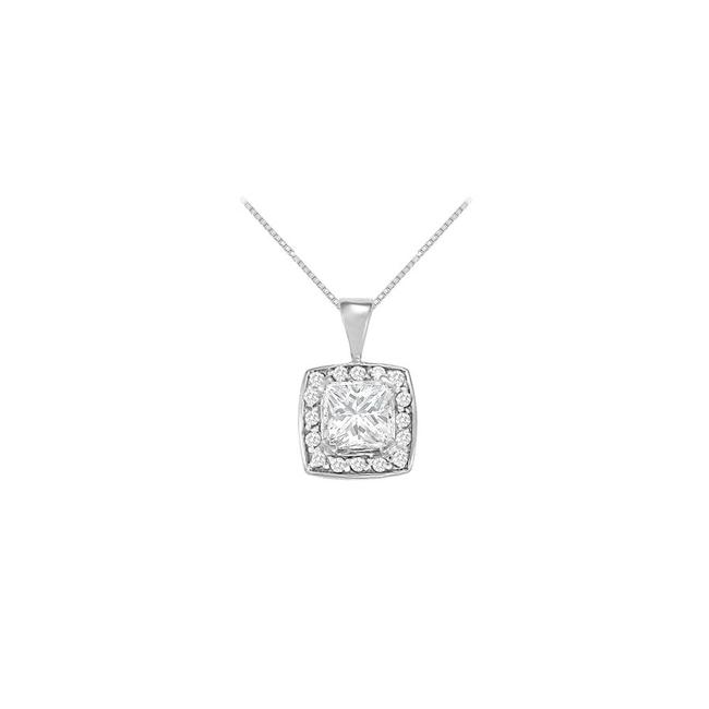 White Fancy Square Cubic Zirconia Halo Pendant In 14k Gold 1.25 Ct Tgw Necklace White Fancy Square Cubic Zirconia Halo Pendant In 14k Gold 1.25 Ct Tgw Necklace Image 1