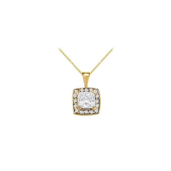 White Yellow Gold Fancy Square Cubic Zirconia Halo Pendant In 14k 1.25 Ct Tg Necklace White Yellow Gold Fancy Square Cubic Zirconia Halo Pendant In 14k 1.25 Ct Tg Necklace Image 1