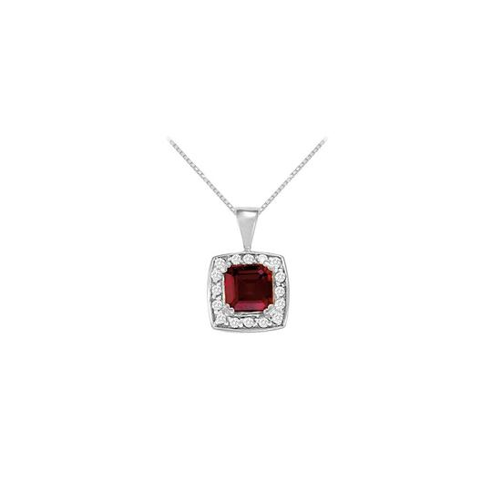 Preload https://img-static.tradesy.com/item/23391561/red-white-gold-fancy-square-garnet-and-cubic-zirconia-fashion-halo-pendant-in-14k-whi-necklace-0-0-540-540.jpg