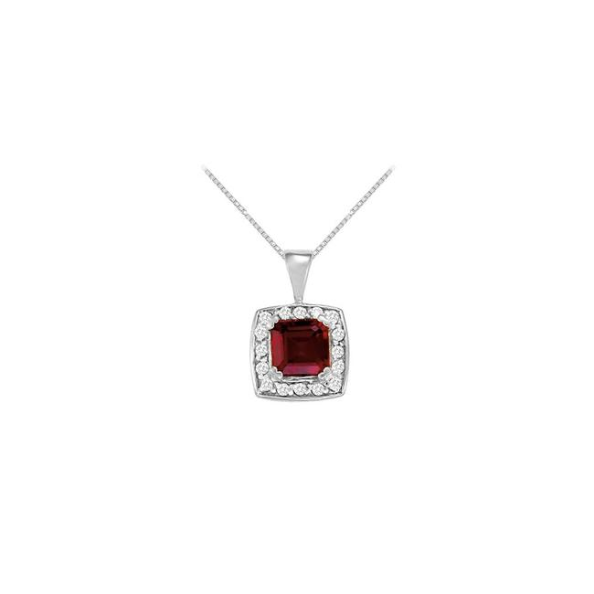 Red White Gold Fancy Square Garnet and Cubic Zirconia Fashion Halo Pendant In 14k Whi Necklace Red White Gold Fancy Square Garnet and Cubic Zirconia Fashion Halo Pendant In 14k Whi Necklace Image 1