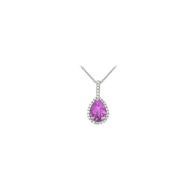 Purple White Gold Fancy Teardrop Amethyst and Cubic Zirconia Halo Pendant In 14k G Necklace Purple White Gold Fancy Teardrop Amethyst and Cubic Zirconia Halo Pendant In 14k G Necklace Image 1