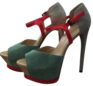 Boutique 9 pink-silver-teal Platforms