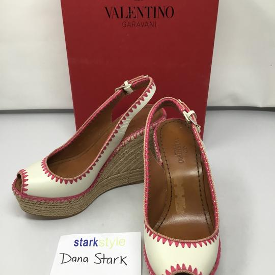 Valentino ivory and pink Wedges