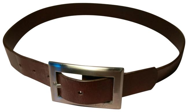Kenneth Cole Silver & Brown Large Buckle Leather Belt Kenneth Cole Silver & Brown Large Buckle Leather Belt Image 1