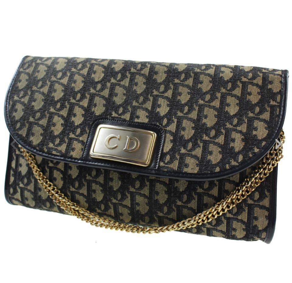 485fa5316588 Dior Christian Trotter Chain Navy Canvas Vintage France Shoulder Bag ...