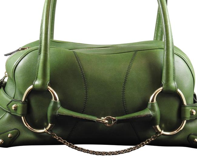 Gucci Horsebit Chain Double Handle Handbag Green Leather Satchel Gucci Horsebit Chain Double Handle Handbag Green Leather Satchel Image 1