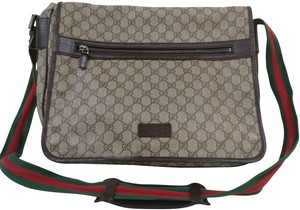 Gucci Gg Monogram Web Crossbody Gray Messenger Bag