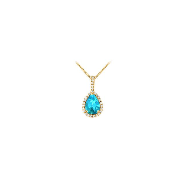 Blue Yellow Gold Fancy Teardrop Topaz and Cubic Zirconia Halo Pendant In 14k Necklace Blue Yellow Gold Fancy Teardrop Topaz and Cubic Zirconia Halo Pendant In 14k Necklace Image 1