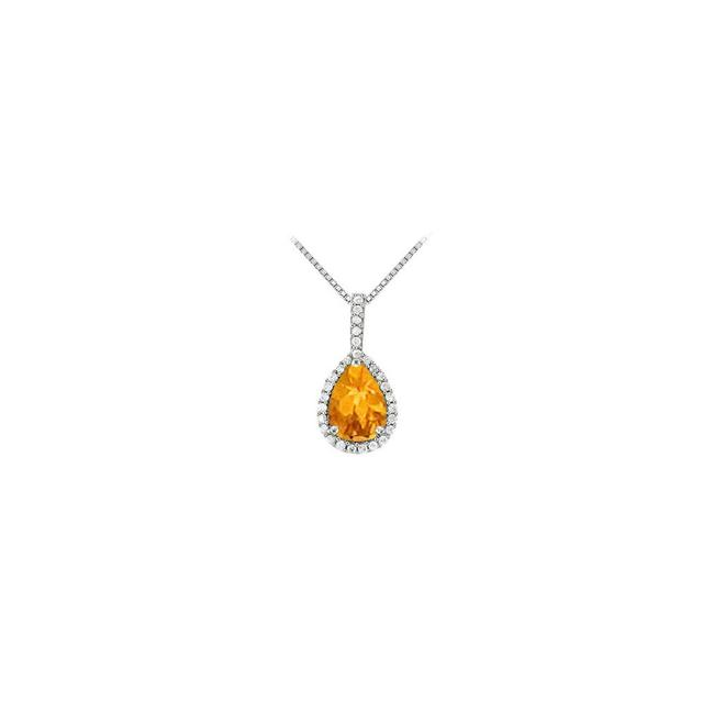 Yellow White Gold Fancy Teardrop Citrine and Cubic Zirconia Halo Pendant In 14k Necklace Yellow White Gold Fancy Teardrop Citrine and Cubic Zirconia Halo Pendant In 14k Necklace Image 1