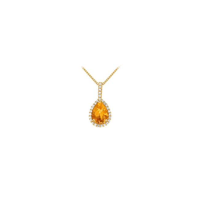 Yellow Yellow Gold Fancy Teardrop Citrine and Cubic Zirconia Halo Pendant In 14k Necklace Yellow Yellow Gold Fancy Teardrop Citrine and Cubic Zirconia Halo Pendant In 14k Necklace Image 1
