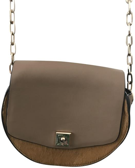 Item - Brown Faux Leather and Calf Hair Cross Body Bag